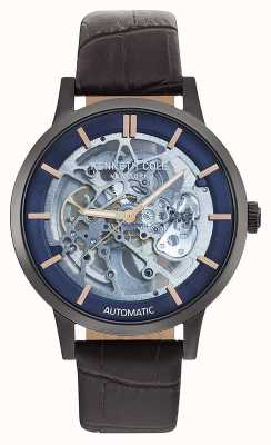 Kenneth Cole | mens automatico | cinturino in pelle marrone | quadrante blu | KC50559001