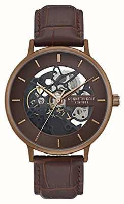 Kenneth Cole | mens automatico | cinturino in pelle marrone | quadrante marrone | KC50780002