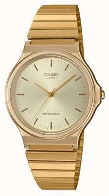 Casio | orologio rotondo vintage | braccialetto espandibile | quadrante in oro | MQ-24G-9EEF