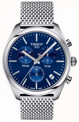 Tissot | cronografo uomo pr100 | braccialetto a maglie | quadrante blu | T1014171104100