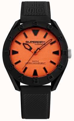 Superdry | uomo osaka | cinturino in silicone nero | quadrante arancione | SYG243BO