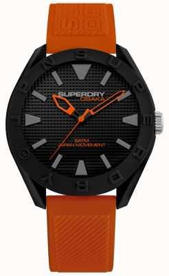 Superdry | uomo osaka | cinturino in silicone arancione | quadrante nero | SYG243OB