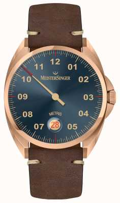 MeisterSinger Cinturino in pelle di vitello marrone scuro metris color bronzo ME917BR