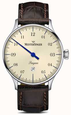 MeisterSinger Quadrante in avorio con cinturino in alligatore marrone data Pangea PMD903