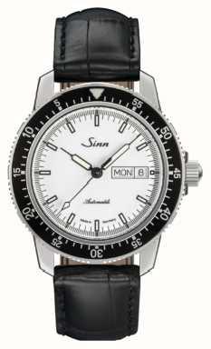 Sinn 104 st sa iw classico orologio da polso in pelle con alligatore in rilievo 104.012 BLACK EMBOSSED LEATHER BLACK STITCHING