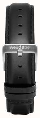 Weird Ape Fibbia in argento con cinturino in pelle nera da 16mm ST01-000045