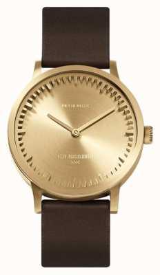 Leff Amsterdam | orologio da tubo | t32 | ottone | cinturino in pelle marrone | LT74323