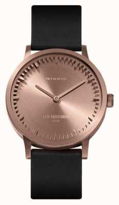 Leff Amsterdam | orologio da tubo | t32 | oro rosa | cinturino in pelle nera | LT74414