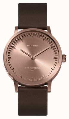 Leff Amsterdam | orologio da tubo | t32 | oro rosa | cinturino in pelle marrone | LT74424