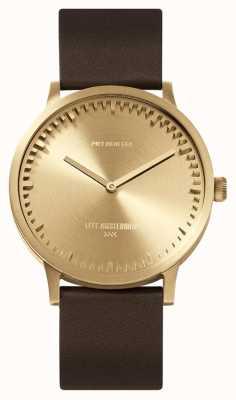 Leff Amsterdam | orologio da tubo | t40 | ottone | cinturino in pelle marrone | LT75323