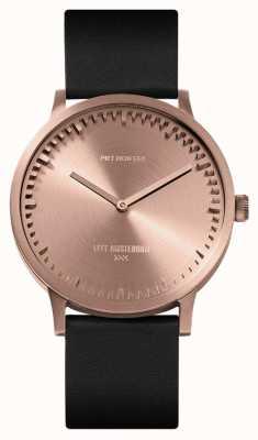 Leff Amsterdam | orologio da tubo | t40 | oro rosa | cinturino in pelle nera | LT75414