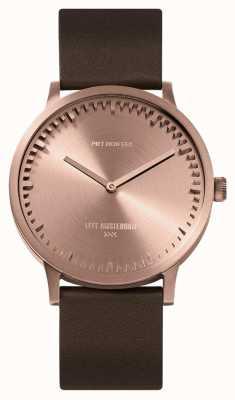 Leff Amsterdam | orologio da tubo | t40 | oro rosa | cinturino in pelle marrone | LT75424
