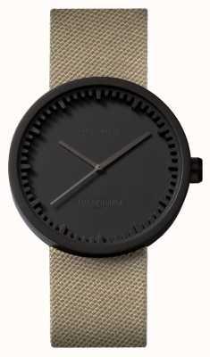 Leff Amsterdam | orologio da tubo | d38 | nero | cinturino in coedura sabbia | LT71013