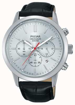 Pulsar | cronografo da uomo | quadrante argento | cinturino in pelle nera | PT3749X1
