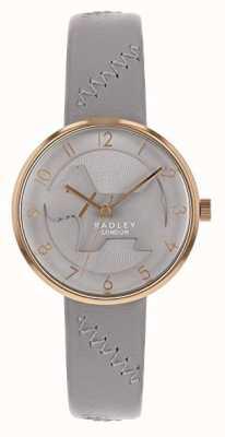 Radley | cinturino in pelle grigia da donna | quadrante di cane grigio in rilievo | RY2804