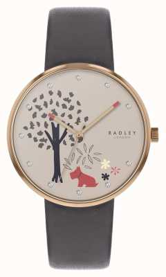 Radley | cinturino in pelle grigia da donna | quadrante motivo albero e cane | RY2788