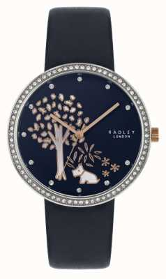 Radley | cinturino in pelle blu navy | castone incastonato in cristallo | quadrante ad albero RY2783