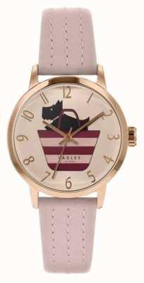 Radley | cinturino in pelle rosa chiaro da donna | cane stampato nel quadrante del sacchetto RY2794