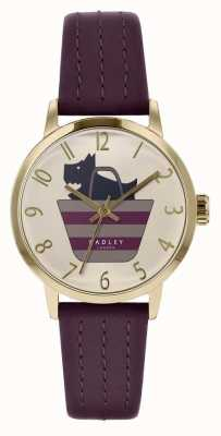 Radley | cinturino in pelle viola da donna | quadrante a forma di cane stampato | RY2796