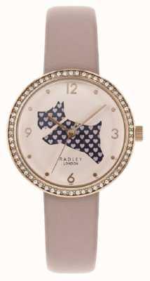 Radley | cinturino in pelle rosa da donna | quadrante cane tagliato | set di cristallo RY2806