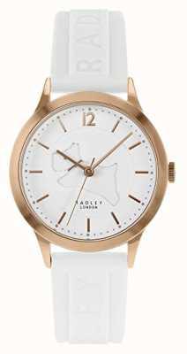 Radley | cinturino in silicone bianco da donna | quadrante bianco | cassa in oro rosa RY2818
