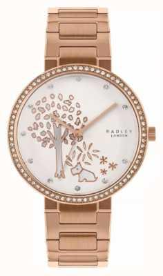 Radley | bracciale donna in acciaio oro rosa | quadrante motivo albero bianco | RY4388