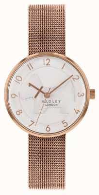 Radley | braccialetto in maglia oro rosa da donna | quadrante bianco cane in rilievo | RY4392