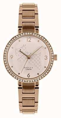 Radley   bracciale donna in acciaio oro rosa   quadrante cane tagliato   RY4394