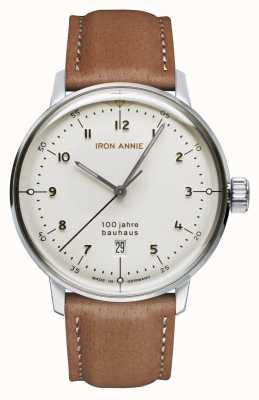 Iron Annie Bauhaus | quadrante bianco | cinturino in pelle marrone 5046-1