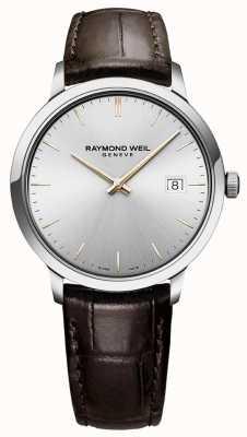 Raymond Weil | mens toccata | cinturino in pelle marrone | quadrante argento | 5485-SL5-65001