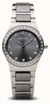 Bering | argento lucidato ceramica delle donne | set di cristallo | quadrante grigio | 32426-703