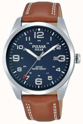 Pulsar | cinturino in pelle marrone da uomo | quadrante blu | PX3189X1