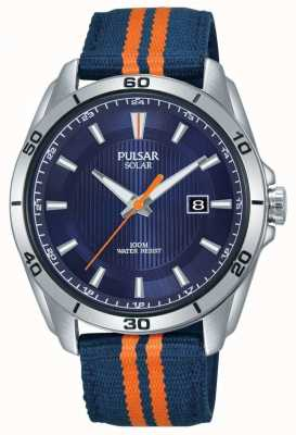Pulsar | quadrante blu uomo | cinturino in tessuto blu / arancione PX3175X1