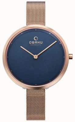Obaku | donna dok azzurro | maglia oro rosa | quadrante blu | V227LXVLMV