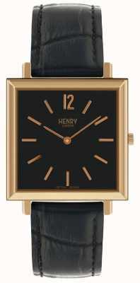 Henry London Heritage mens quadrante orologio quadrante nero cinturino in pelle nera HL34-QS-0270