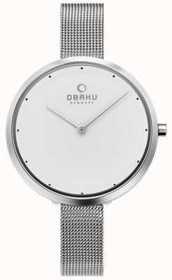 Obaku | acciaio da donna dok | braccialetto a maglie d'argento | quadrante bianco | V227LXCIMC
