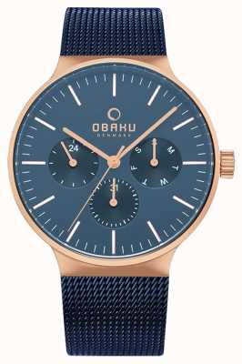 Obaku | uomo mos ocean | maglia blu | quadrante del cronografo blu | V229GMVLML