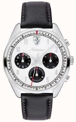Scuderia Ferrari Orologio da uomo con cinturino in pelle nera e abetone quadrante bianco 0830569