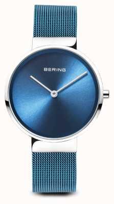 Bering Donne   classico   cinturino in maglie d'acciaio placcato pvd blu 14531-308
