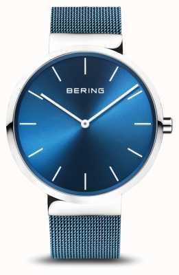 Bering Mens | classico | cinturino in maglie d'acciaio placcato pvd blu 16540-308