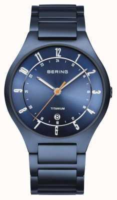 Bering Mens | titanio | quadrante blu | braccialetto blu 11739-797