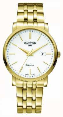 Roamer | linea classica | acciaio inossidabile placcato in oro | quadrante bianco | 709856 48 25 70