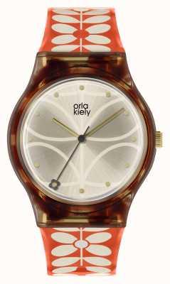 Orla Kiely | orologio da bobby da donna | custodia nera | Cinturino per staminali anni '60 | OK2316