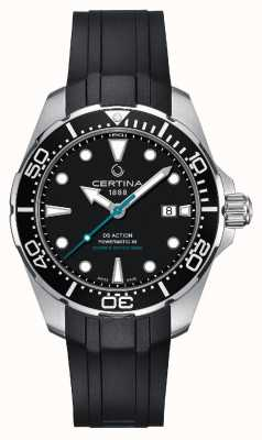 Certina | ds action diver powermatic 80 | cinturino in caucciù nero | C0324071705160