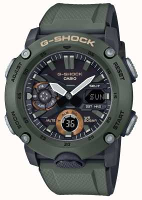 Casio | guardia del nucleo di carbonio g-shock | cinturino in caucciù verde | GA-2000-3AER