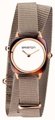 Briston | signora clubmaster | cinturino nato taupe singolo | pvd oro rosa 19924.PRA.T.2.NT