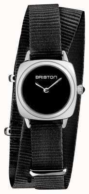 Briston | signora clubmaster | cinturino singolo nato nero | quadrante nero | 19924.S.M.1.NB