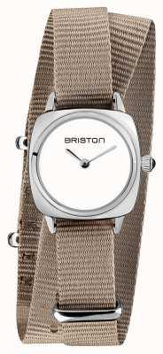 Briston | signora clubmaster | cinturino nato taupe singolo | quadrante bianco | 19924.S.M.2.NT