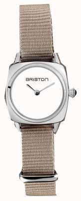 Briston | signora clubmaster | cinturino nato taupe singolo | quadrante bianco | 19924.S.M.2.NT - SINGLESTRAP