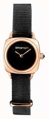 Briston | signora clubmaster | singolo nero nato | custodia in pvd oro rosa | 19924.SPRG.M.1.NB - SINGLESTRAP